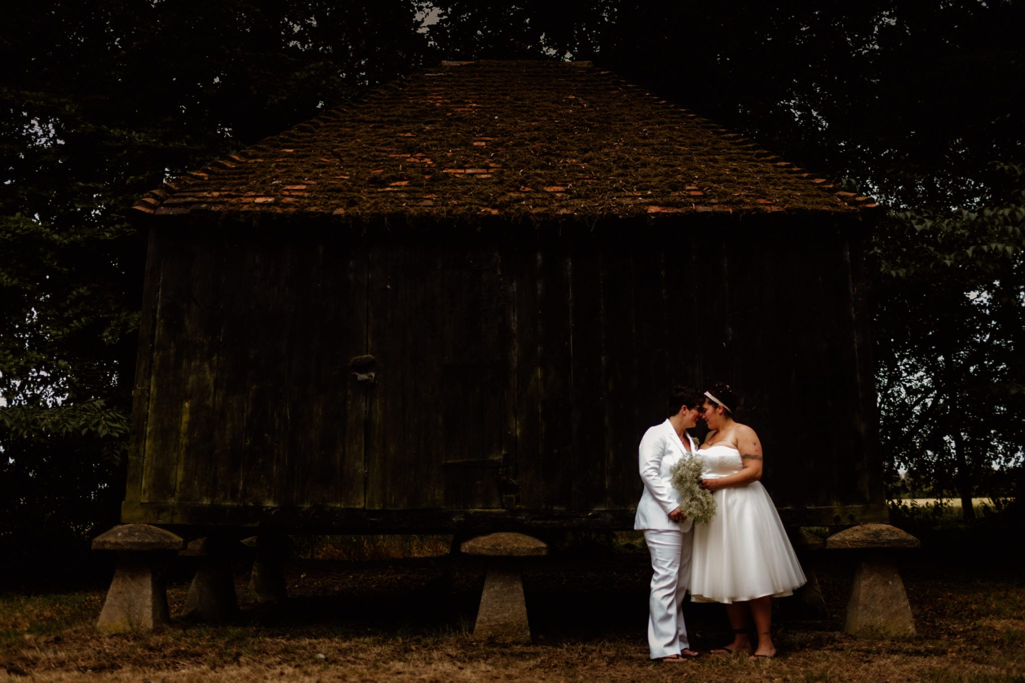 Same sex wedding at Lains barn