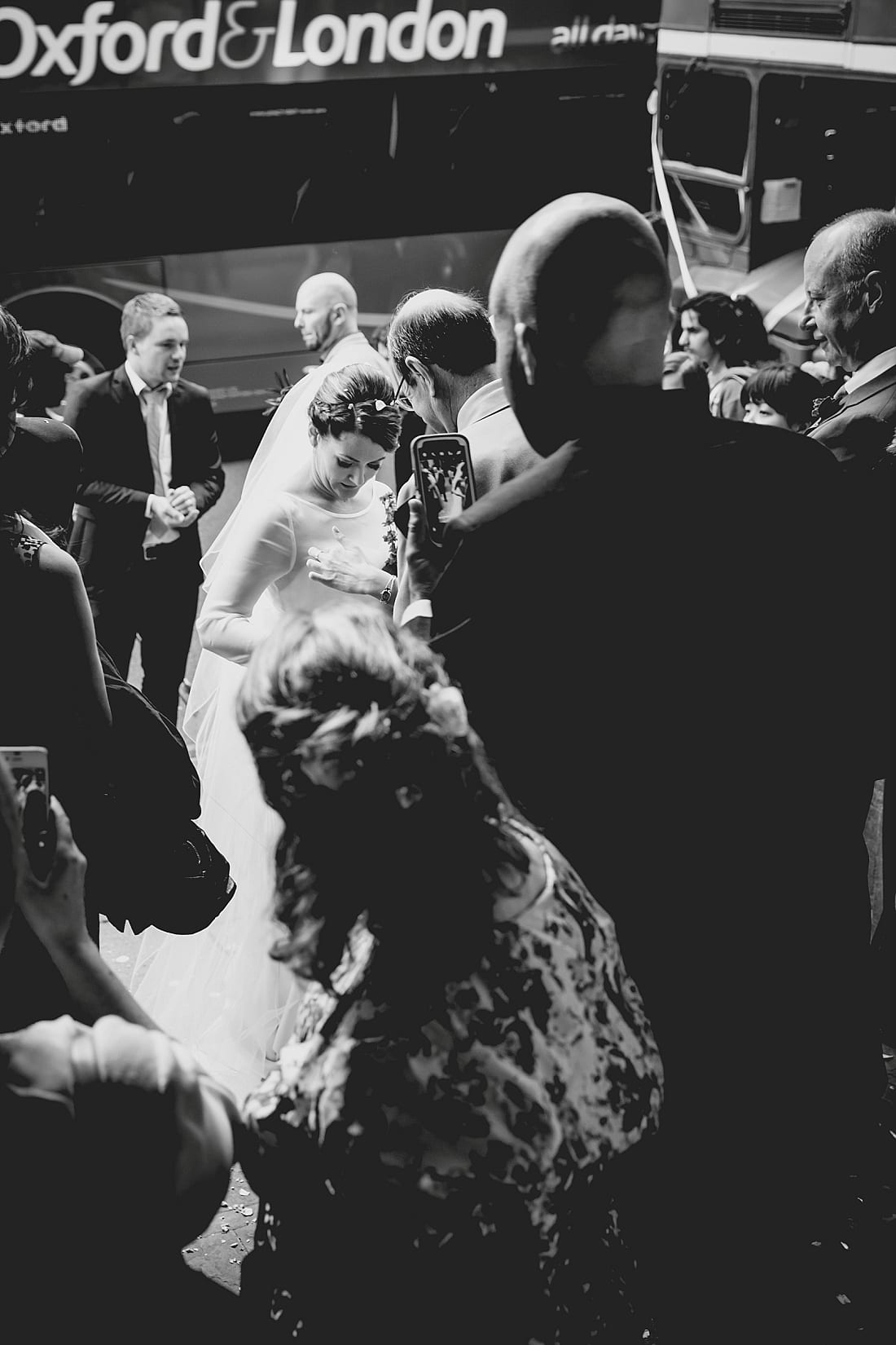 Black and white reportage of bride