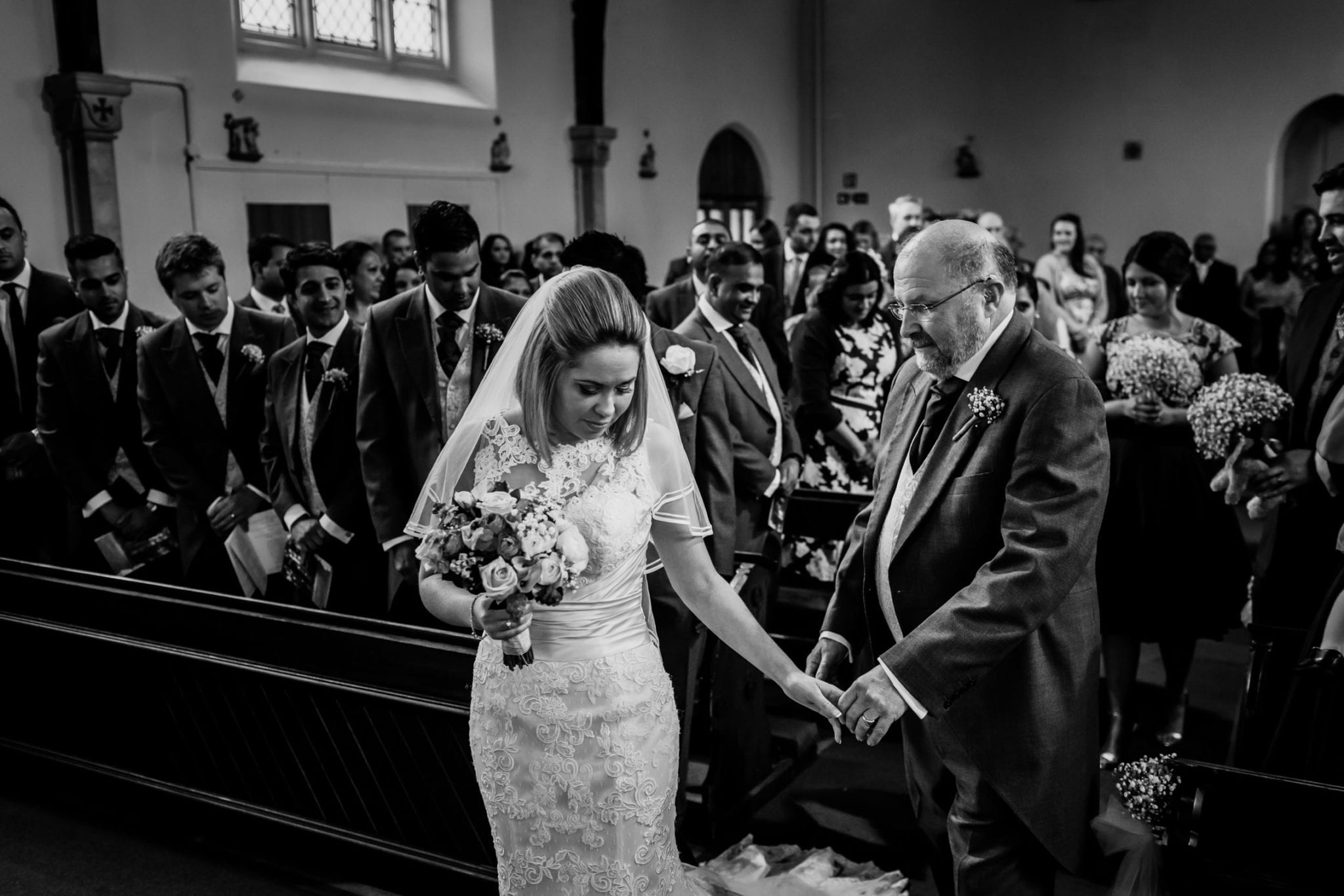 Father and daughter wedding moment at Goldstone Hall