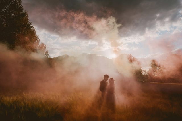 Smoke bombs and sunset for wedding in Hertfordshire