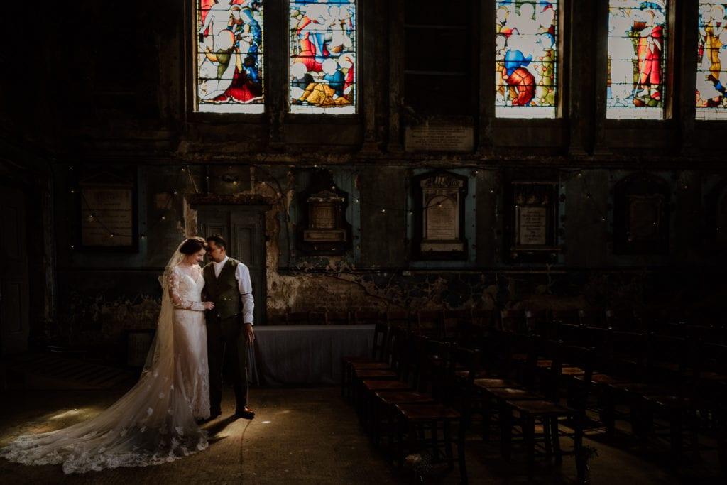Light on couple at the Asylum, London Wedding Photographer
