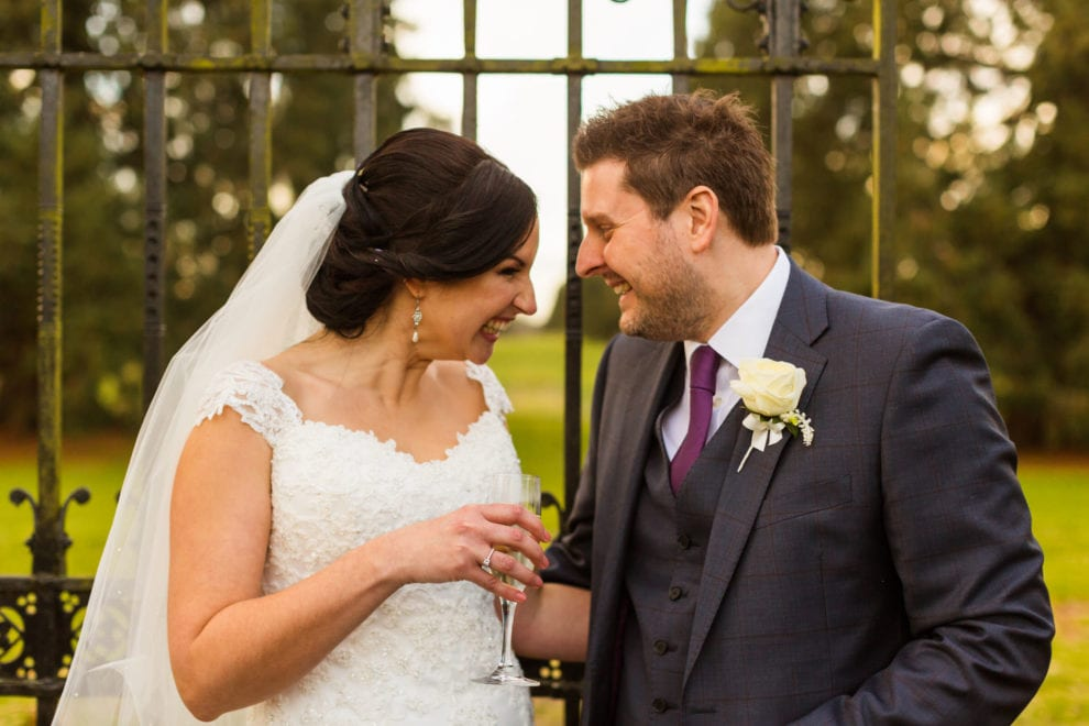 Alix and Dan by the gates at the Elvetham