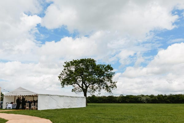 Charlotte and Paul's marquee was completed just a few minutes before the actual ceremony started and luckily just before the heavens opened!