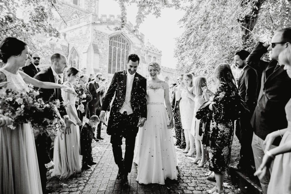 Eggington House - Bedfordshire Wedding Photographer-60- Black and white confetti photo