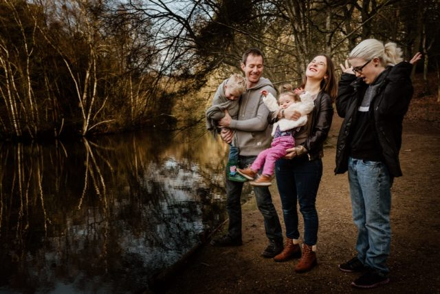 Family messing about at Rushmere Woods