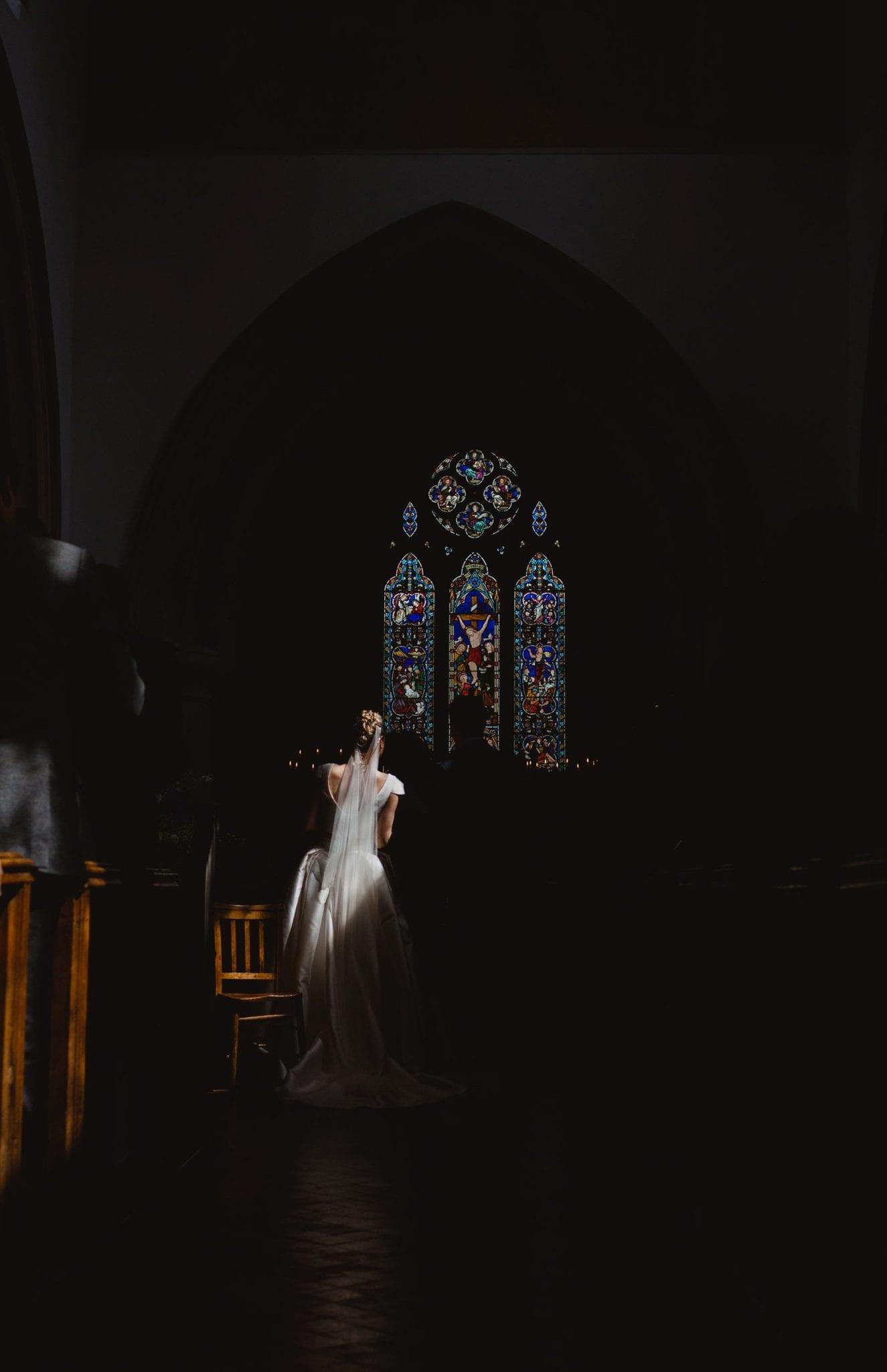 Light on the bride at a church wedding in Bucks