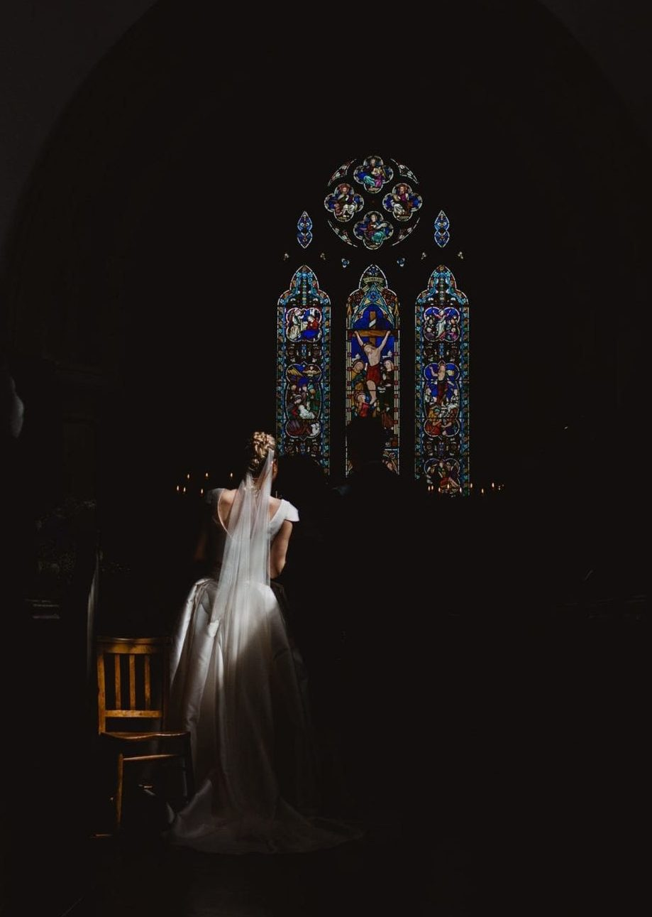 Light on the bride at a church wedding in Bucks