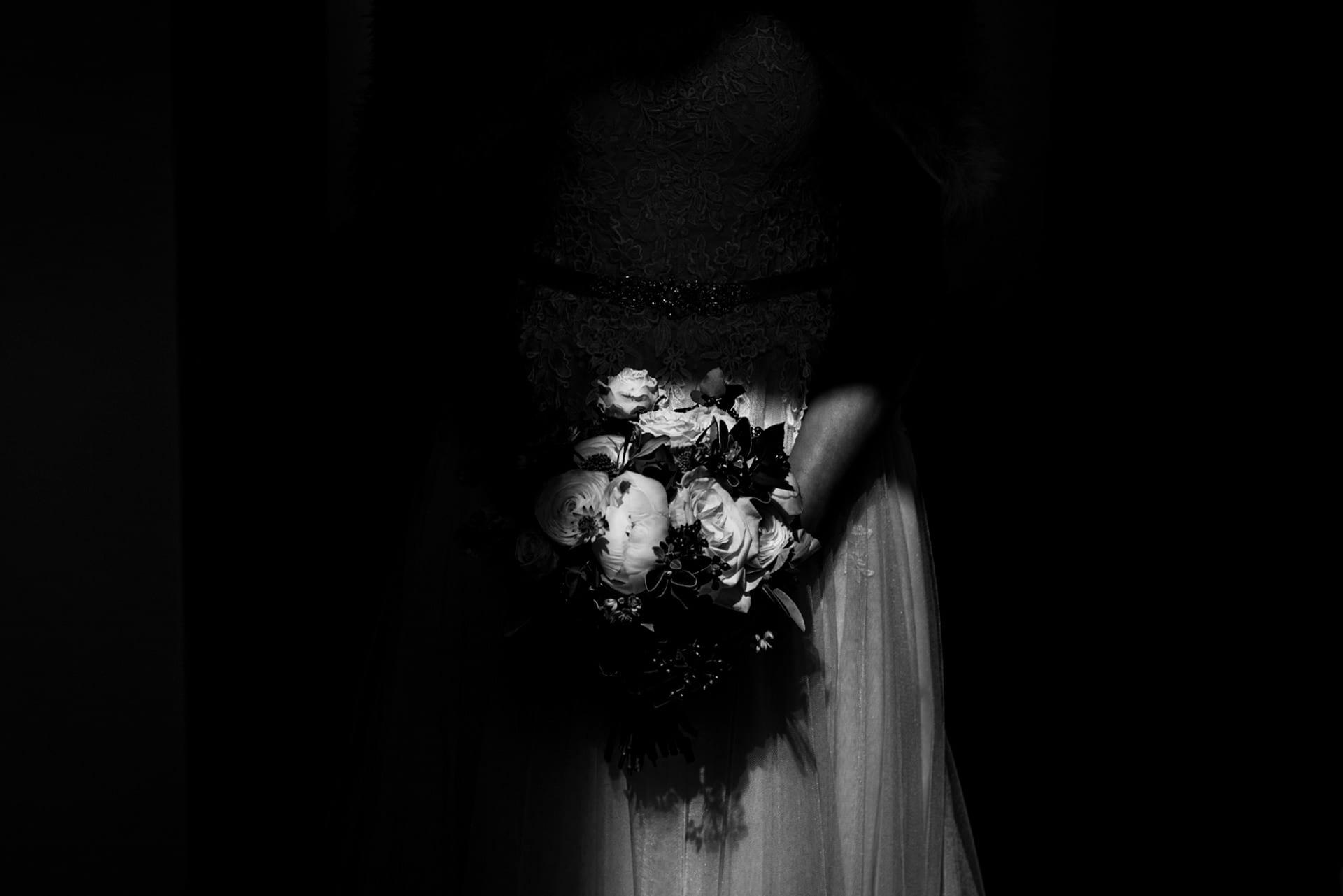 Light on a wedding bouquet