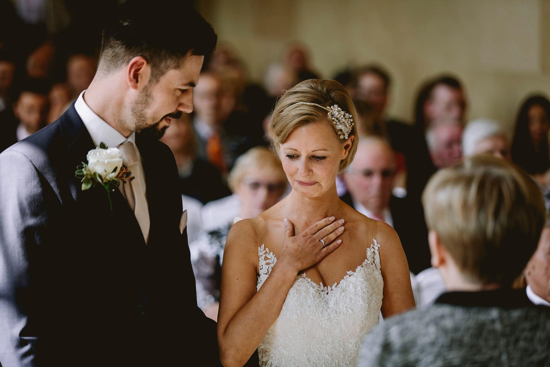 Bride gets emotional during her wedding vows
