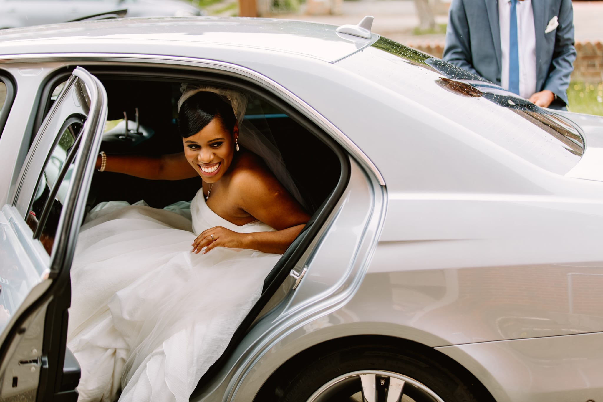 Bride arriving by car at church to be married