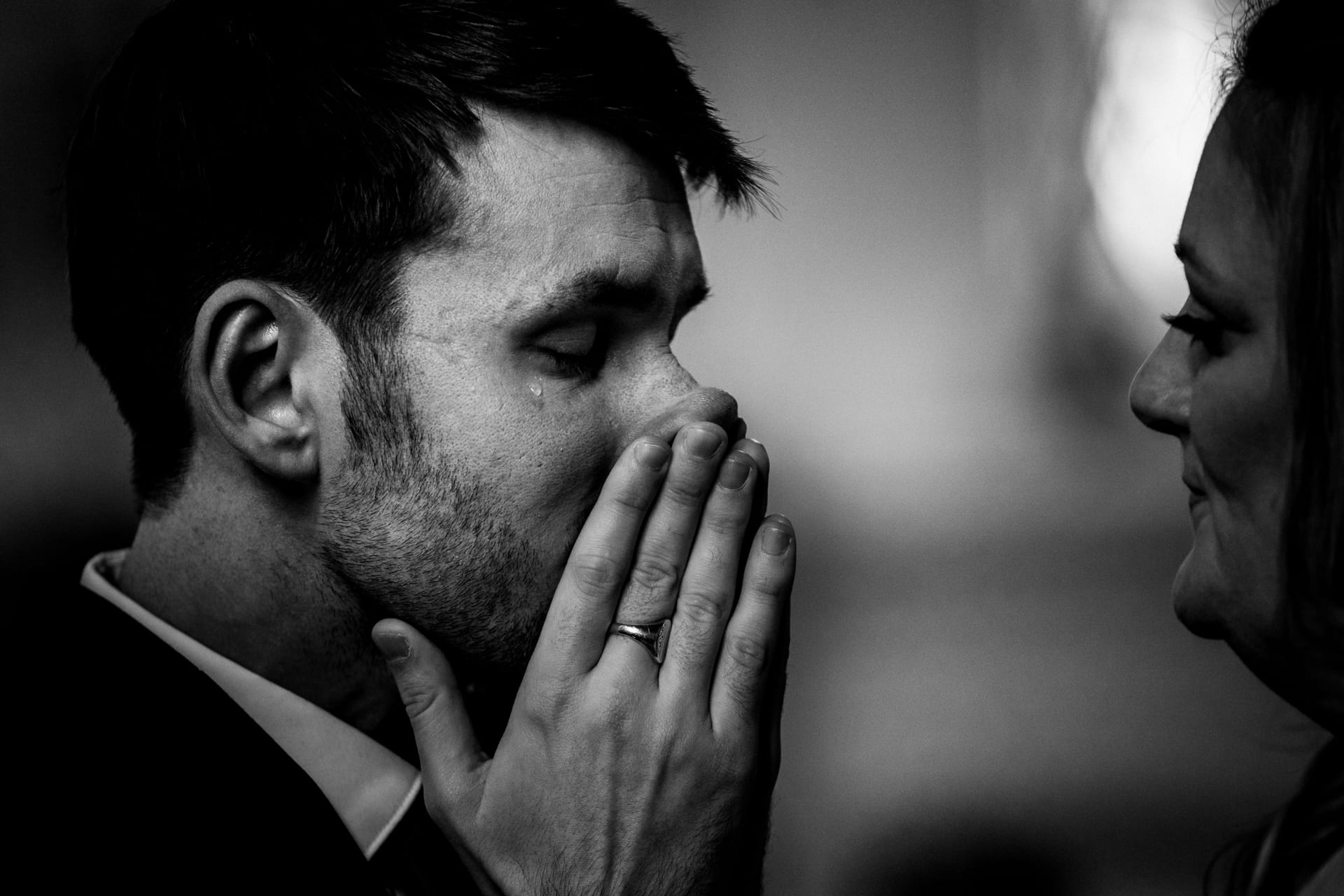 Groom sheds a tear before his wedding