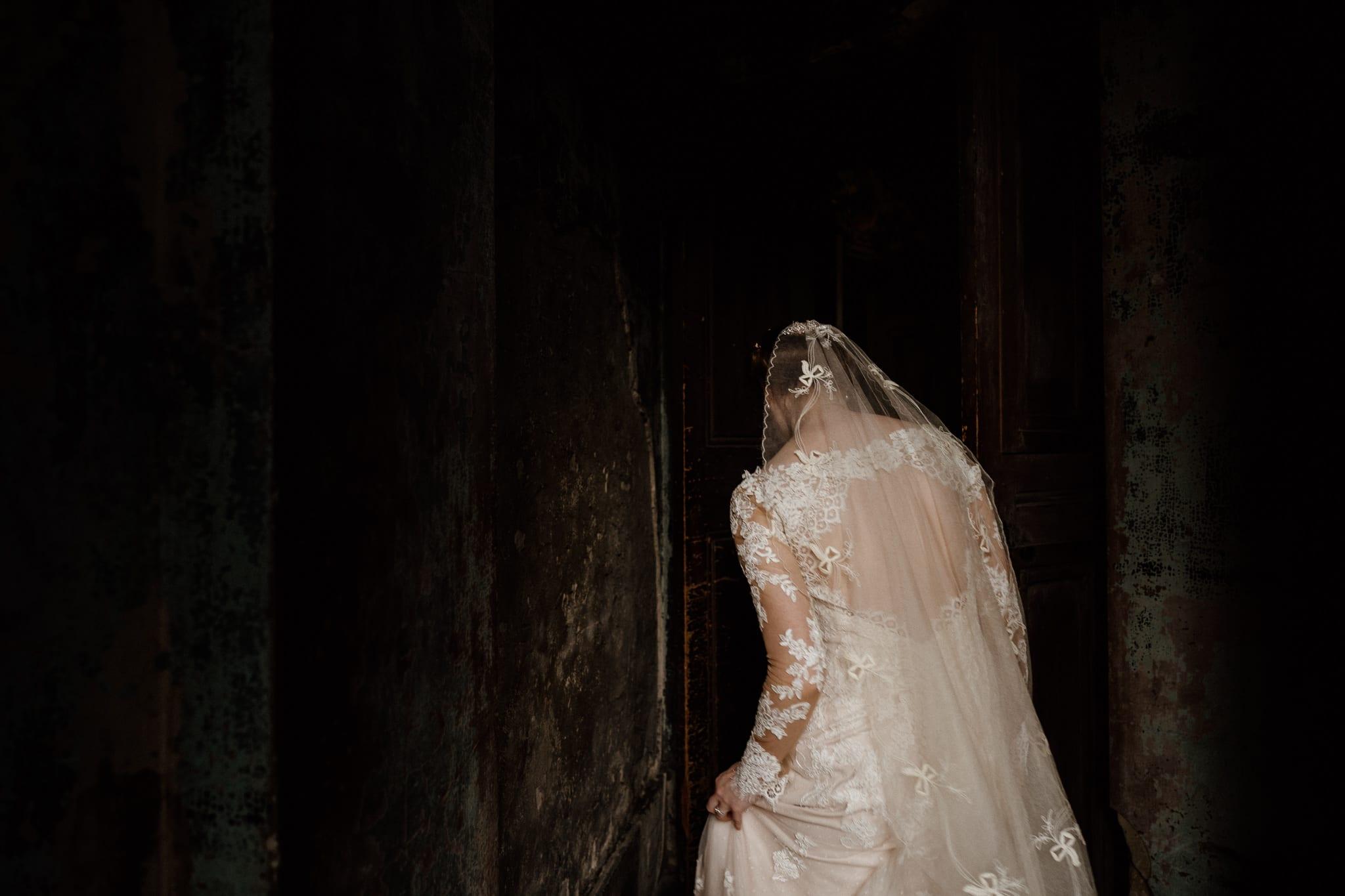 Bride in the doorway of the Asylum Chapel, London