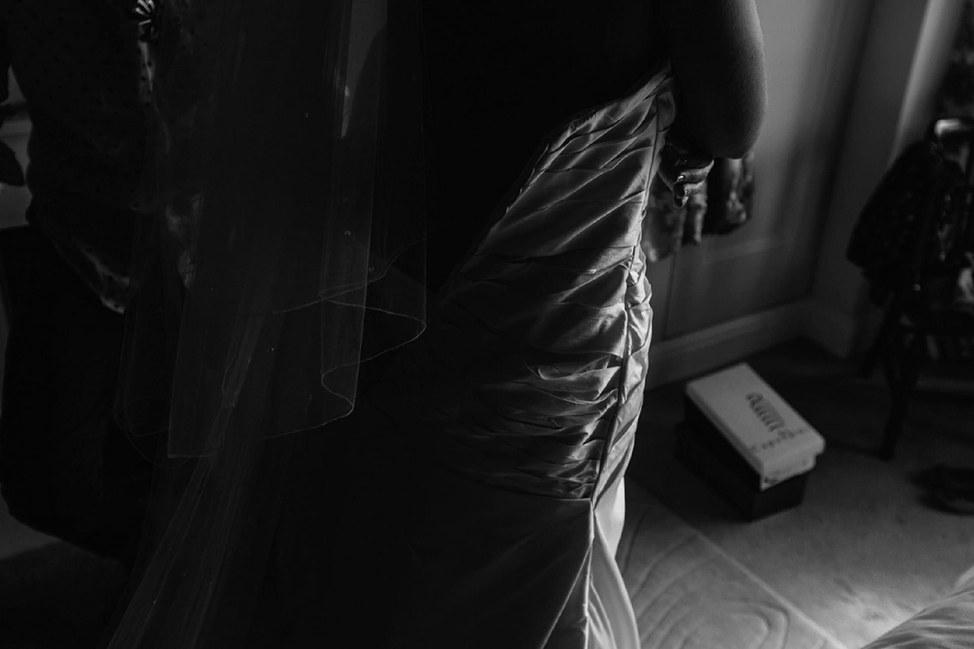 Light highlighted on a wedding dress