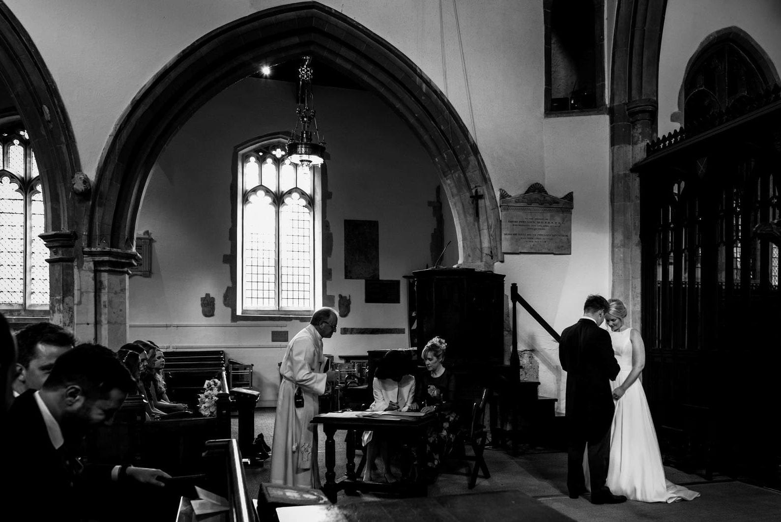 Couple just married during the service at their wedding