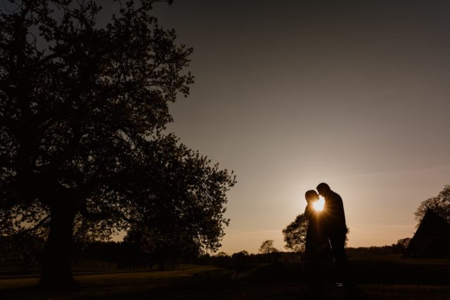 Beautiful sunset at Shuttleworth House Hertfordshire Wedding