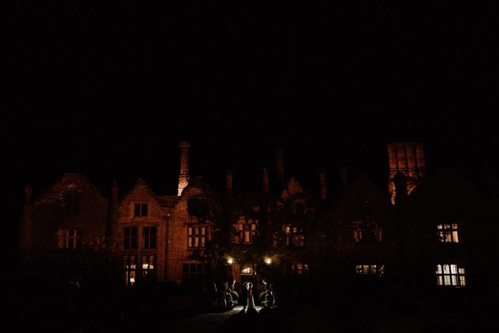 Seckford Hall in Suffolk after dark