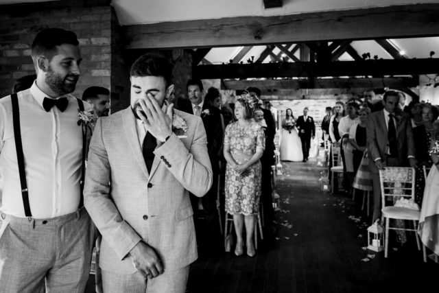 Groom at Long Furlong Barn Wedding Photography