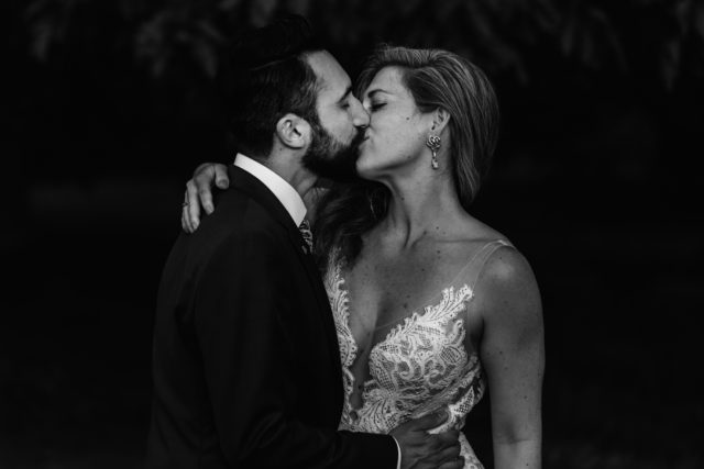 epic wedding kiss