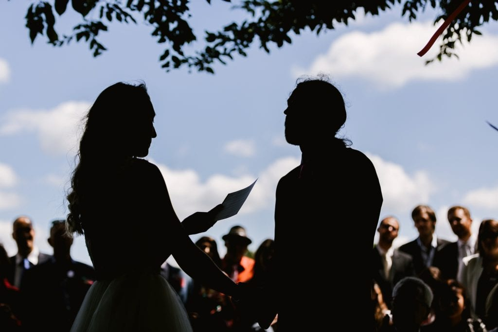 Silhouette during outdoor wedding ceremony i