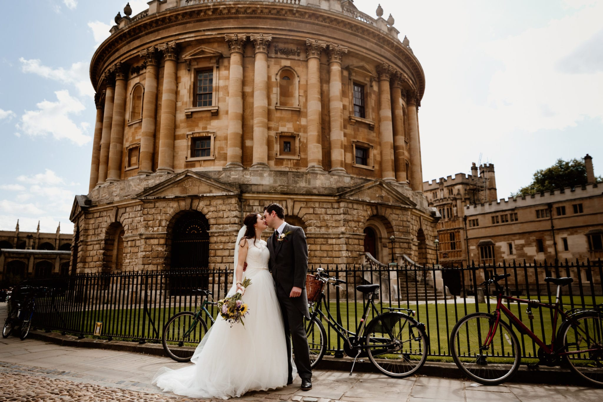Couple outside Bodleian Library Wedding