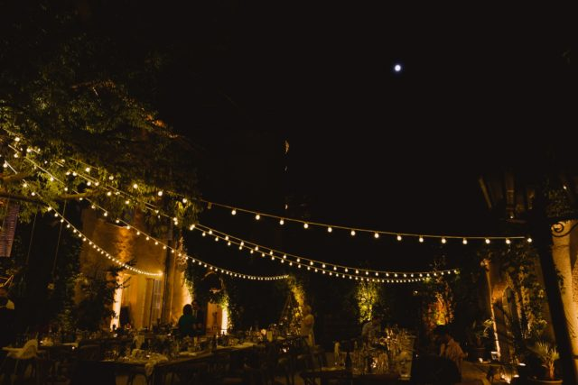 Night time fairy lights at wedding in France