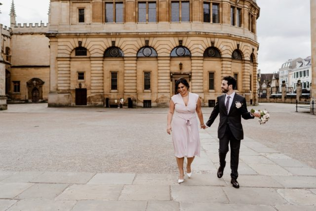 Wedding stroll on streets of Oxford
