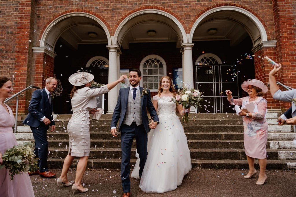 Confetti time at a lockdown wedding in Hertfordshire