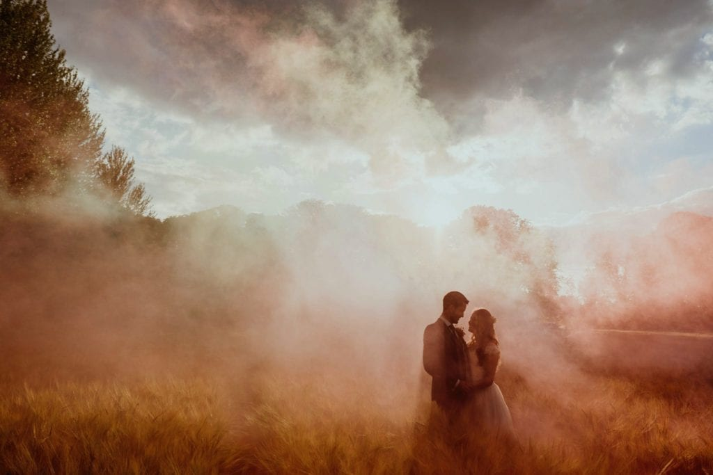 Smokebombs at a lockdown wedding in Hertfordshire