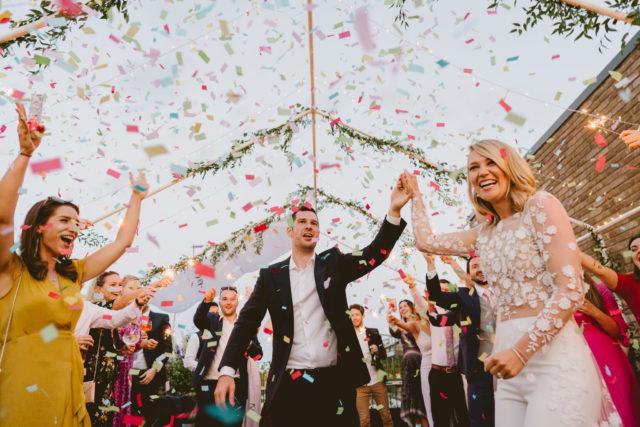 Confetti at London wedding